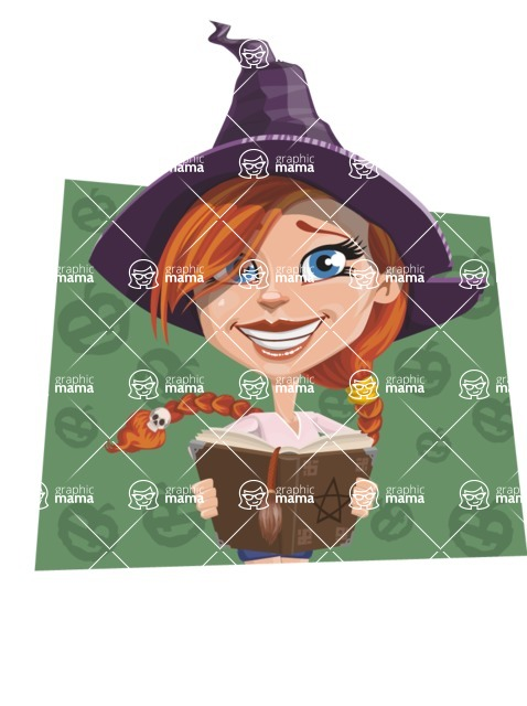 Beautiful Witch Girl Cartoon Vector Character - With Pumpkins Background