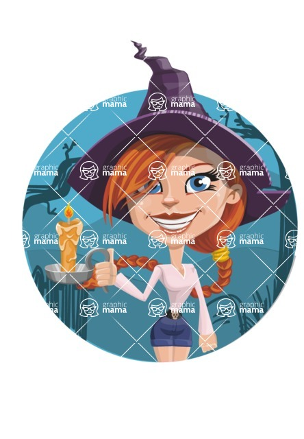 Beautiful Witch Girl Cartoon Vector Character - With Simple Style Halloween Background