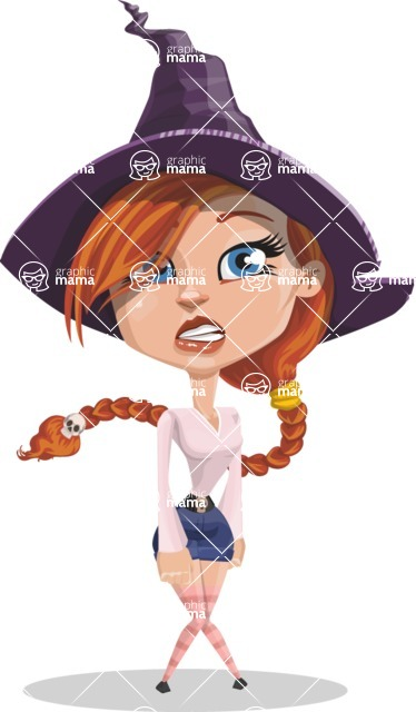 Beautiful Witch Girl Cartoon Vector Character - With Stunned Face