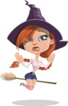Beautiful Witch Girl Cartoon Vector Character - Being Afraid