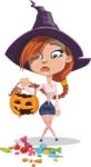Beautiful Witch Girl Cartoon Vector Character - Being Sad With Broken Pumpkin Lantern