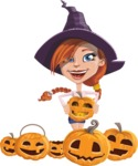 Beautiful Witch Girl Cartoon Vector Character - Celebrating Halloween With Pumpkins