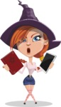 Beautiful Witch Girl Cartoon Vector Character - Choosing Between Modern and Oldschool