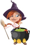 Beautiful Witch Girl Cartoon Vector Character - Cooking in a Caldron