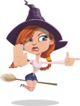Beautiful Witch Girl Cartoon Vector Character - Finger Pointing with Angry Face