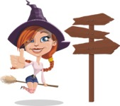Beautiful Witch Girl Cartoon Vector Character - Flying and Choosing a Way