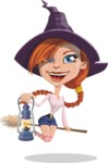Beautiful Witch Girl Cartoon Vector Character - Flying with a Broom and Lantern