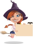 Beautiful Witch Girl Cartoon Vector Character - Holding a Blank Halloween Sign