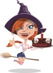 Beautiful Witch Girl Cartoon Vector Character - Holding a Halloween Cake