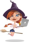 Beautiful Witch Girl Cartoon Vector Character - Holding a Laptop