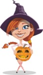 Beautiful Witch Girl Cartoon Vector Character - Holding a Pumpkin Lantern