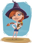 Beautiful Witch Girl Cartoon Vector Character - In Illustration with Cartoon Background