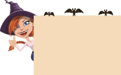 Beautiful Witch Girl Cartoon Vector Character - Making a Presentation on a Whiteboard