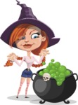 Beautiful Witch Girl Cartoon Vector Character - Making Potion