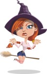 Beautiful Witch Girl Cartoon Vector Character - Making Scary Face