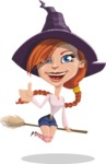Beautiful Witch Girl Cartoon Vector Character - Making Thumbs Up