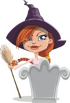 Beautiful Witch Girl Cartoon Vector Character - On a Grave