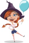 Beautiful Witch Girl Cartoon Vector Character - On a Party with a Balloon