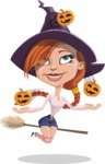 Beautiful Witch Girl Cartoon Vector Character - Playing on Halloween