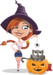 Beautiful Witch Girl Cartoon Vector Character - Playing With Cat on Halloween