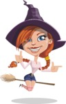 Beautiful Witch Girl Cartoon Vector Character - Pointing and Making Thumbs Up