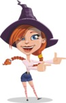Beautiful Witch Girl Cartoon Vector Character - Pointing with Hands