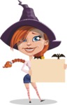 Beautiful Witch Girl Cartoon Vector Character - Presenting on a Blank Halloween Sign