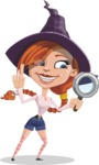 Beautiful Witch Girl Cartoon Vector Character - Searching