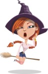Beautiful Witch Girl Cartoon Vector Character - Tired and Yawning