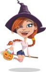 Beautiful Witch Girl Cartoon Vector Character - On a Broom with Halloween Pumpkin