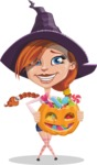 Beautiful Witch Girl Cartoon Vector Character - Trick Or Treating