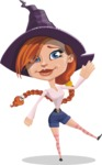 Beautiful Witch Girl Cartoon Vector Character - Waving