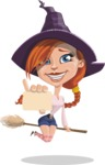 Beautiful Witch Girl Cartoon Vector Character - With a Blank Business Card