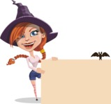 Beautiful Witch Girl Cartoon Vector Character - With a Blank Halloween Sign with a Bat