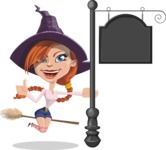 Beautiful Witch Girl Cartoon Vector Character - With a Blank Vintage Street Sign