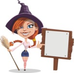 Beautiful Witch Girl Cartoon Vector Character - With a Blank Wood Sign