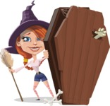 Beautiful Witch Girl Cartoon Vector Character - With a Coffin and a Zombie