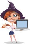 Beautiful Witch Girl Cartoon Vector Character - With a Computer