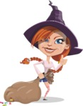 Beautiful Witch Girl Cartoon Vector Character - With a lot of Halloween Treats