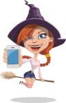 Beautiful Witch Girl Cartoon Vector Character - with a Phone