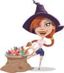 Beautiful Witch Girl Cartoon Vector Character - With Bag full of Halloween Treats