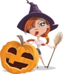Beautiful Witch Girl Cartoon Vector Character - With Big Halloween Pumpkin
