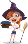 Beautiful Witch Girl Cartoon Vector Character - With Books