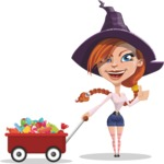 Beautiful Witch Girl Cartoon Vector Character - With Candy Wagoon