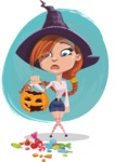 Beautiful Witch Girl Cartoon Vector Character - With Cartoony Background