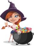Beautiful Witch Girl Cartoon Vector Character - with Cauldron full of Sweets