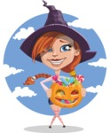 Beautiful Witch Girl Cartoon Vector Character - With Colorful Treats  and Halloween Background