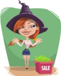 Beautiful Witch Girl Cartoon Vector Character - With Flat Background
