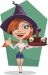 Beautiful Witch Girl Cartoon Vector Character - With Flat Style Background