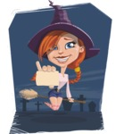 Beautiful Witch Girl Cartoon Vector Character - With Graveyard Background